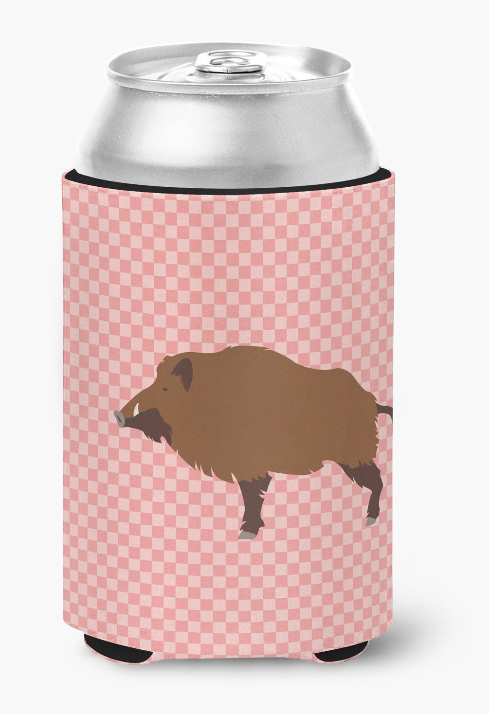 Wild Boar Pig Pink Check Can or Bottle Hugger BB7936CC by Caroline's Treasures