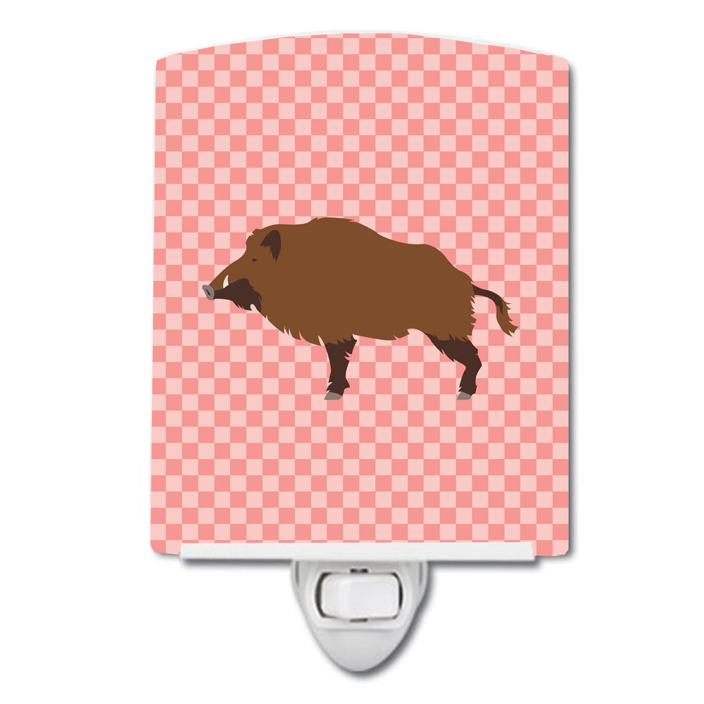 Wild Boar Pig Pink Check Ceramic Night Light BB7936CNL by Caroline's Treasures
