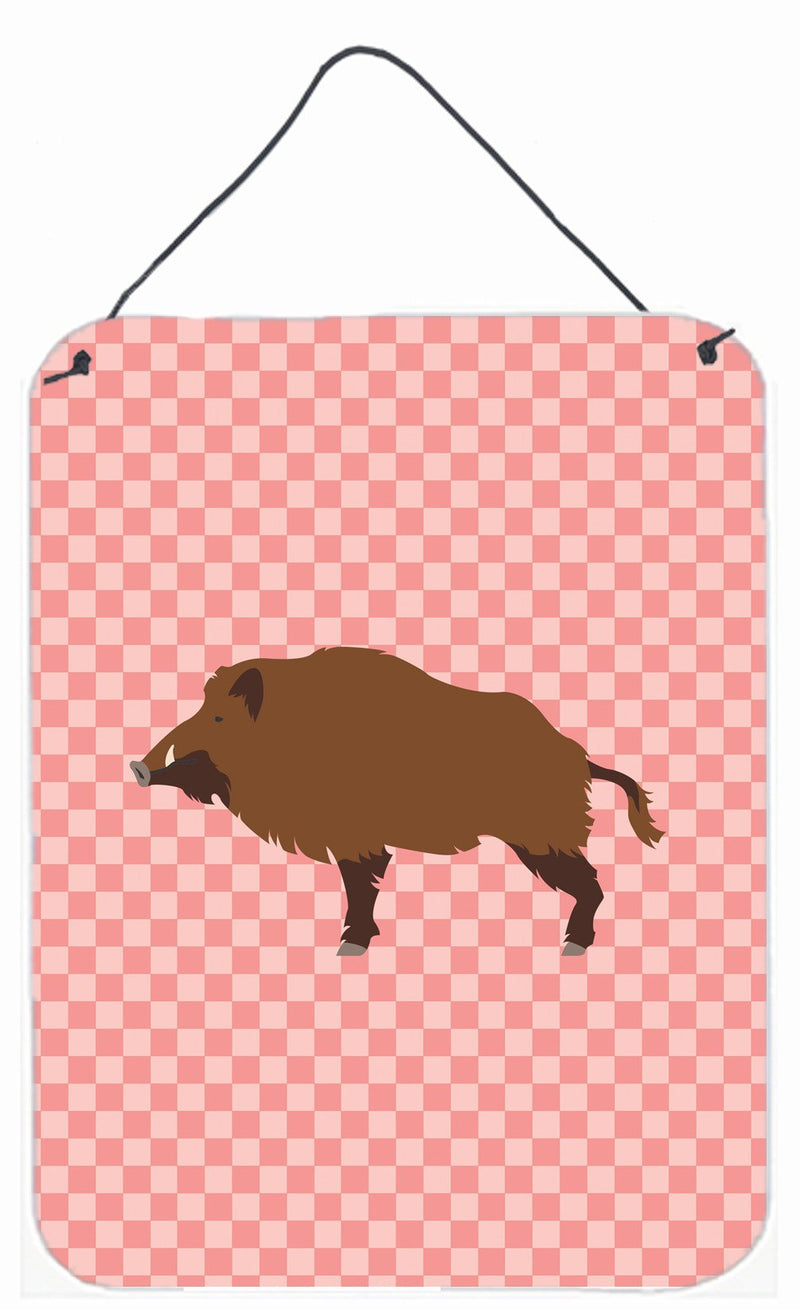 Buy this Wild Boar Pig Pink Check Wall or Door Hanging Prints BB7936DS1216