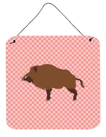 Buy this Wild Boar Pig Pink Check Wall or Door Hanging Prints BB7936DS66