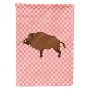 Buy this Wild Boar Pig Pink Check Flag Garden Size