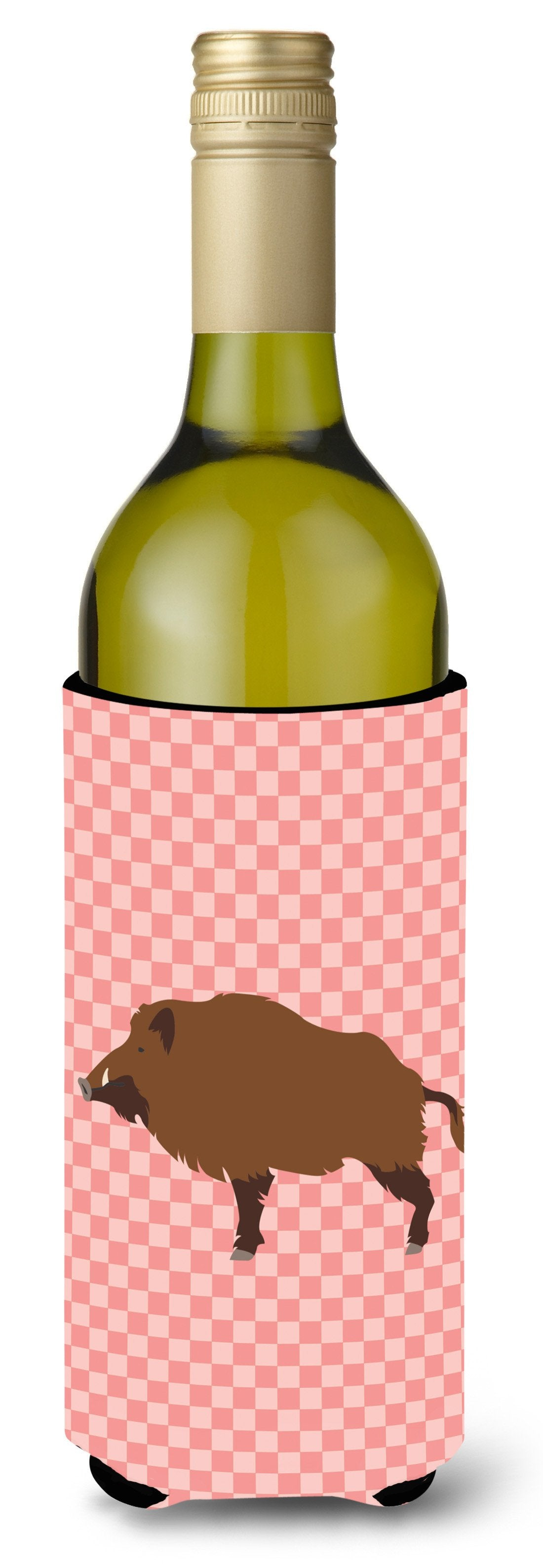 Buy this Wild Boar Pig Pink Check Wine Bottle Beverge Insulator Hugger BB7936LITERK
