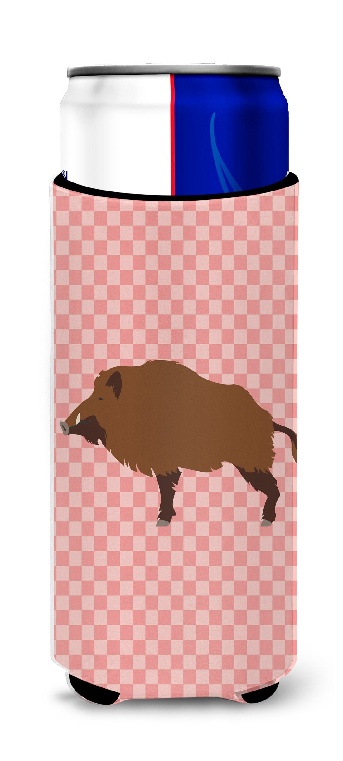 Wild Boar Pig Pink Check Michelob Ultra Hugger for slim cans by Caroline's Treasures