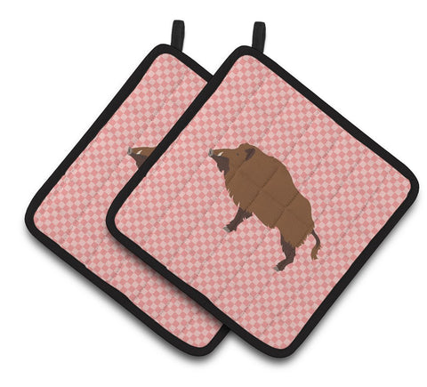 Buy this Wild Boar Pig Pink Check Pair of Pot Holders BB7936PTHD