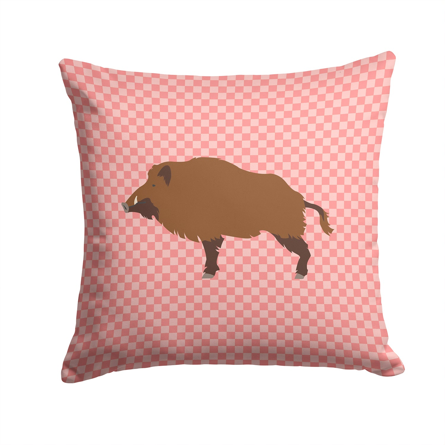Wild Boar Pig Pink Check Fabric Decorative Pillow BB7936PW1414 by Caroline's Treasures