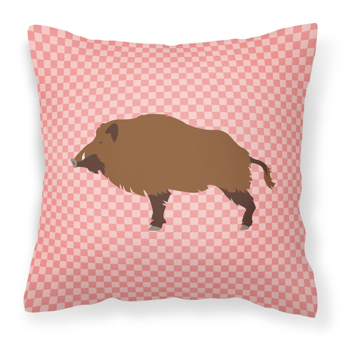 Buy this Wild Boar Pig Pink Check Fabric Decorative Pillow BB7936PW1818