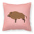 Wild Boar Pig Pink Check Fabric Decorative Pillow BB7936PW1818 by Caroline's Treasures