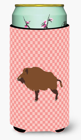 Buy this Wild Boar Pig Pink Check Tall Boy Beverage Insulator Hugger BB7936TBC