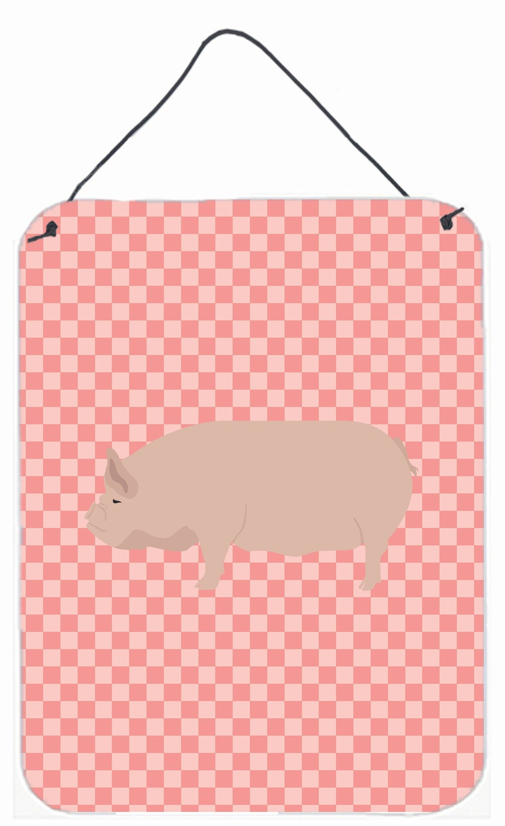 Welsh Pig Pink Check Wall or Door Hanging Prints BB7937DS1216 by Caroline's Treasures