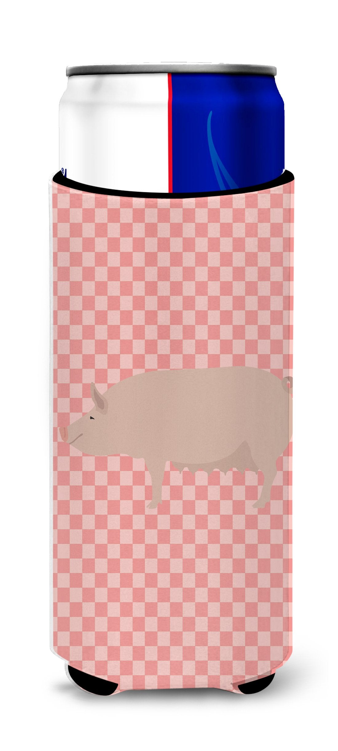 English Large White Pig Pink Check Michelob Ultra Hugger for slim cans by Caroline's Treasures