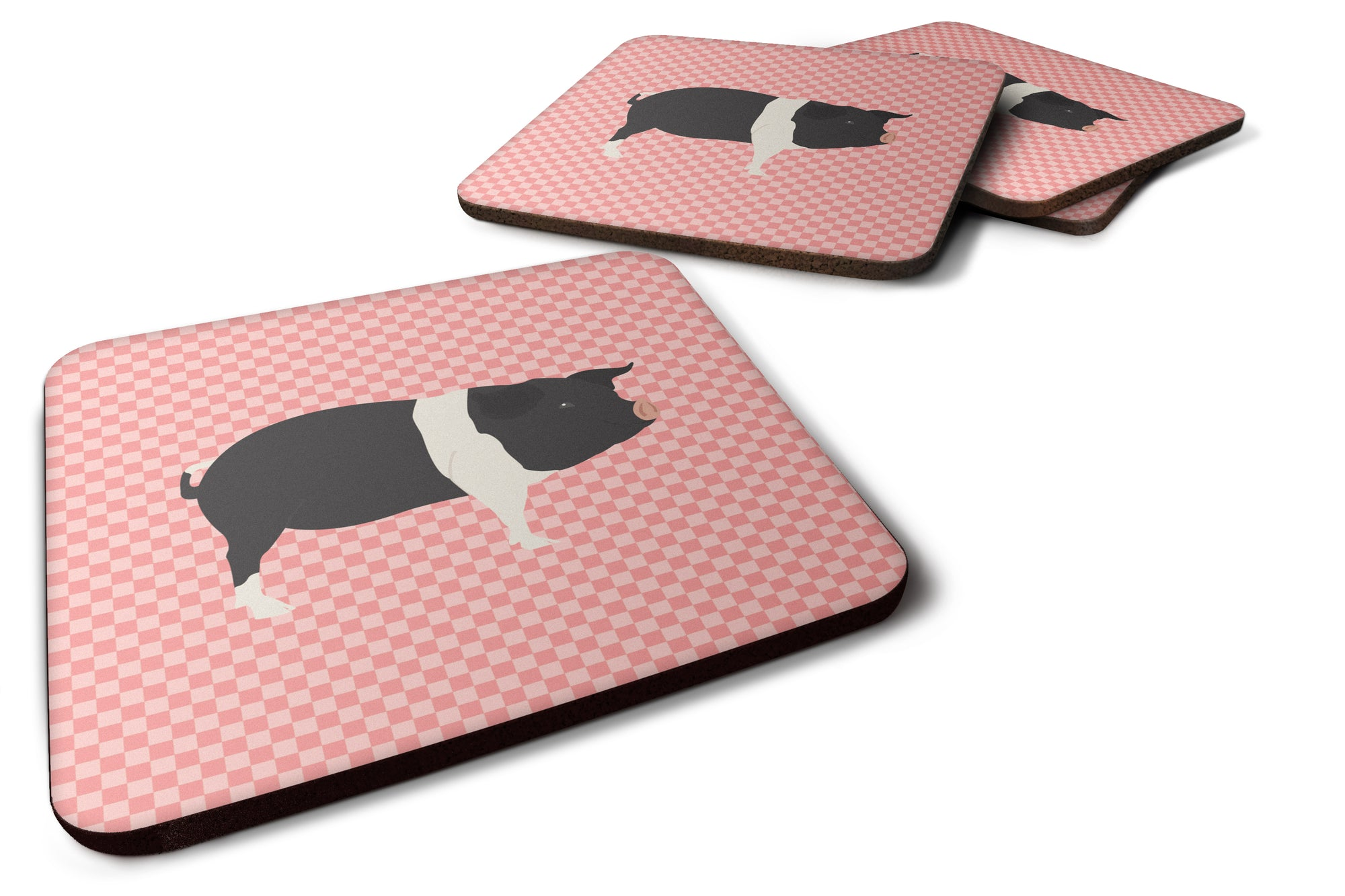 Hampshire Pig Pink Check Foam Coaster Set of 4 BB7939FC by Caroline's Treasures