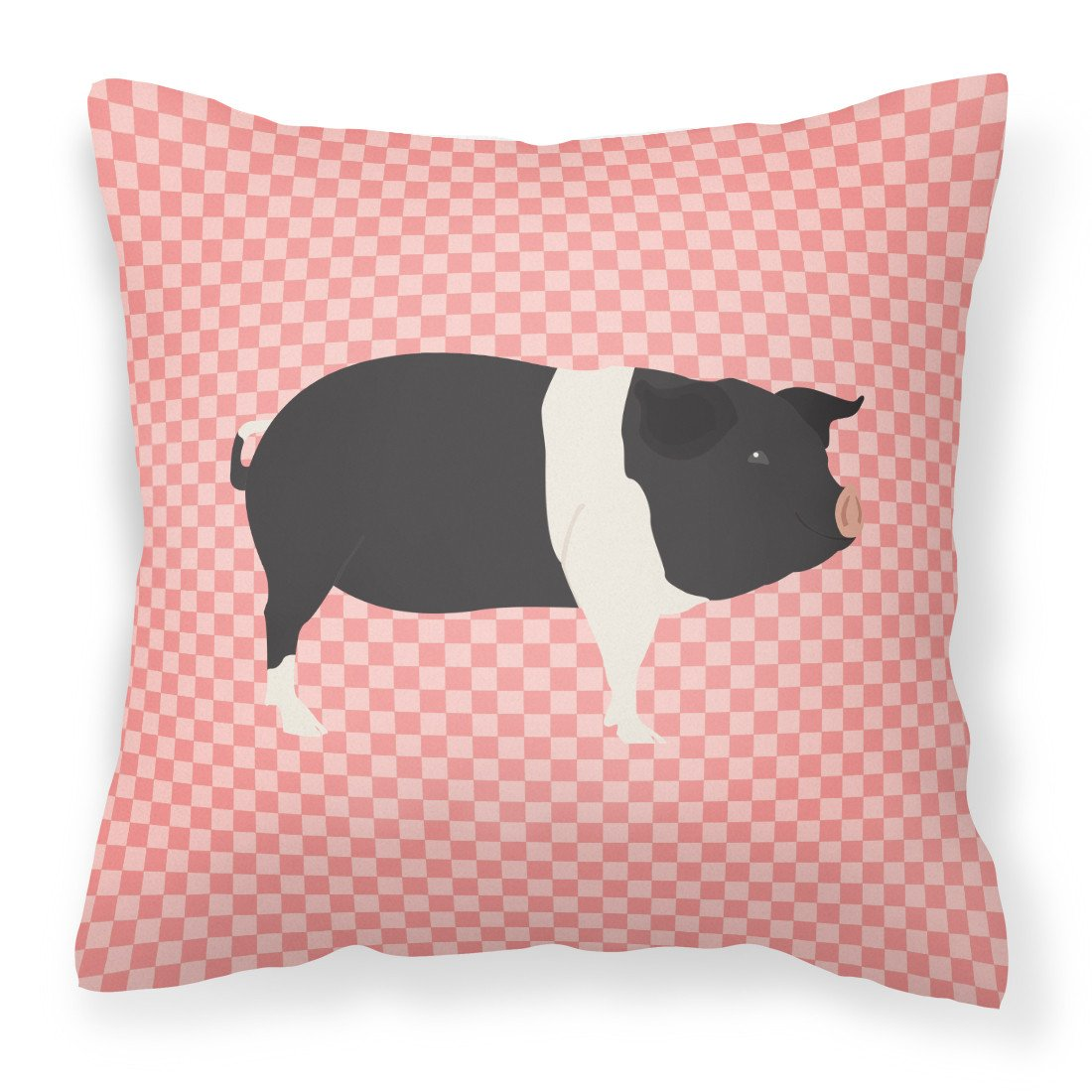Hampshire Pig Pink Check Fabric Decorative Pillow BB7939PW1818 by Caroline's Treasures