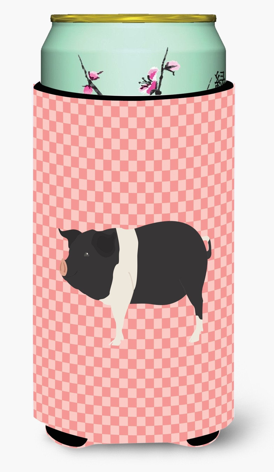 Hampshire Pig Pink Check Tall Boy Beverage Insulator Hugger BB7939TBC by Caroline's Treasures