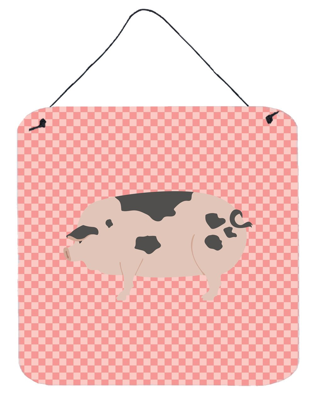 Gloucester Old Spot Pig Pink Check Wall or Door Hanging Prints BB7940DS66 by Caroline's Treasures