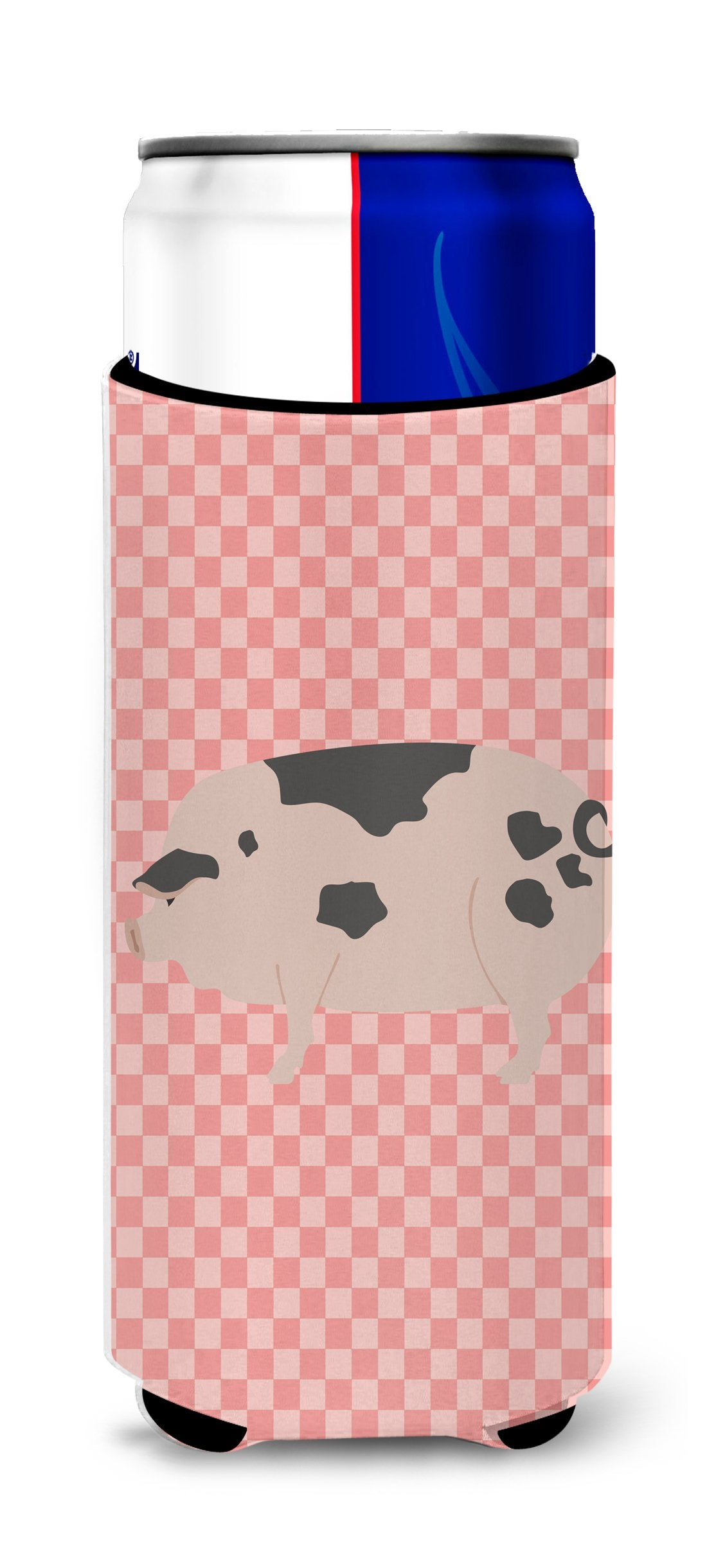 Gloucester Old Spot Pig Pink Check Michelob Ultra Hugger for slim cans by Caroline's Treasures