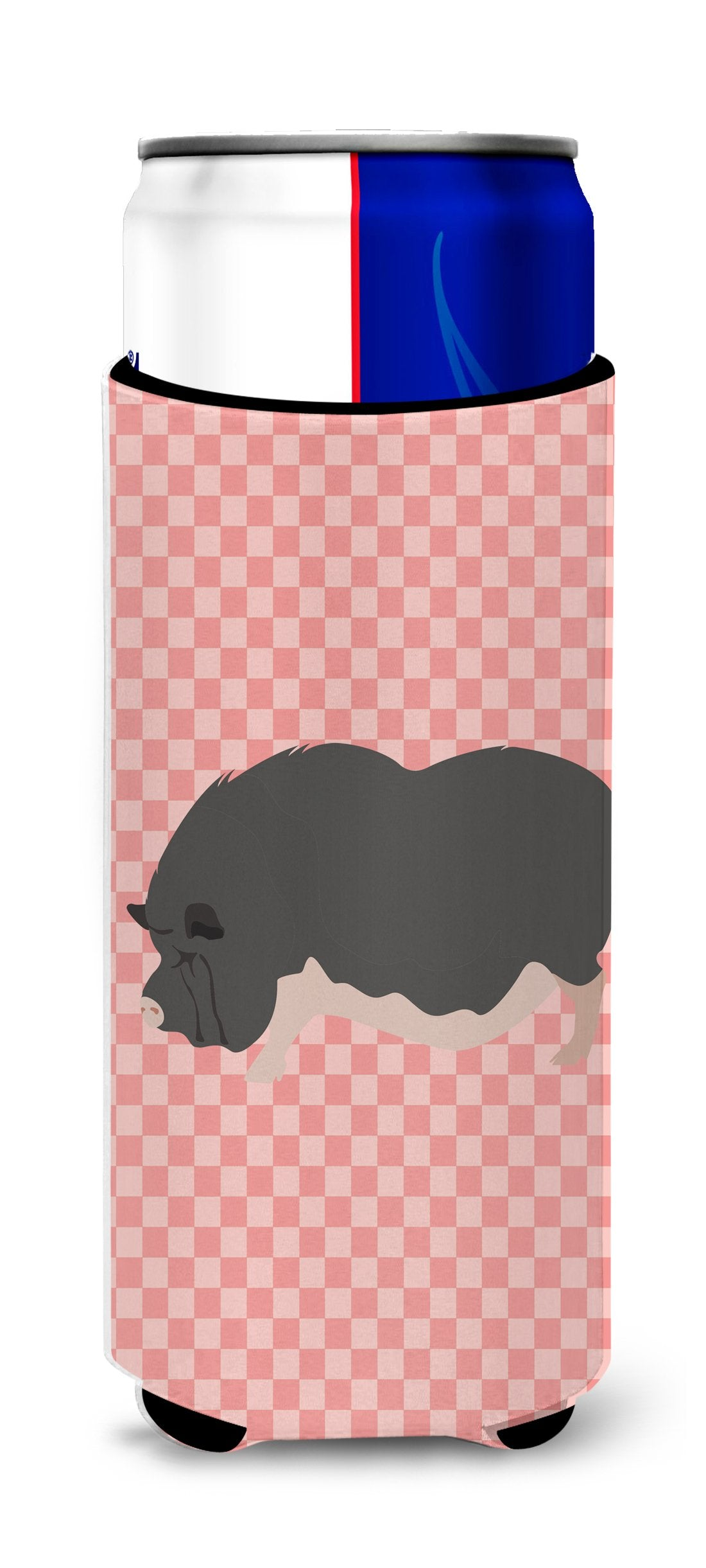 Vietnamese Pot-Bellied Pig Pink Check Michelob Ultra Hugger for slim cans by Caroline's Treasures