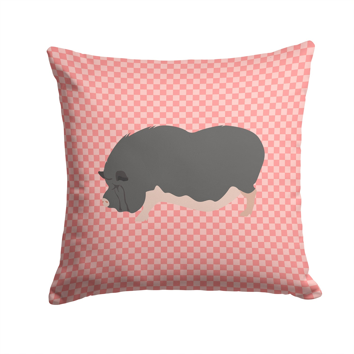 Vietnamese Pot-Bellied Pig Pink Check Fabric Decorative Pillow BB7941PW1414 by Caroline's Treasures