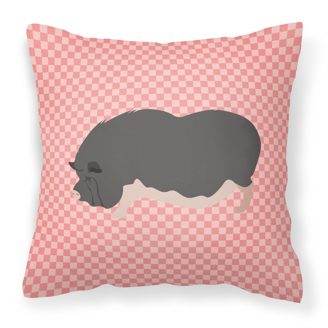 Vietnamese Pot-Bellied Pig Pink Check Fabric Decorative Pillow BB7941PW1818 by Caroline's Treasures