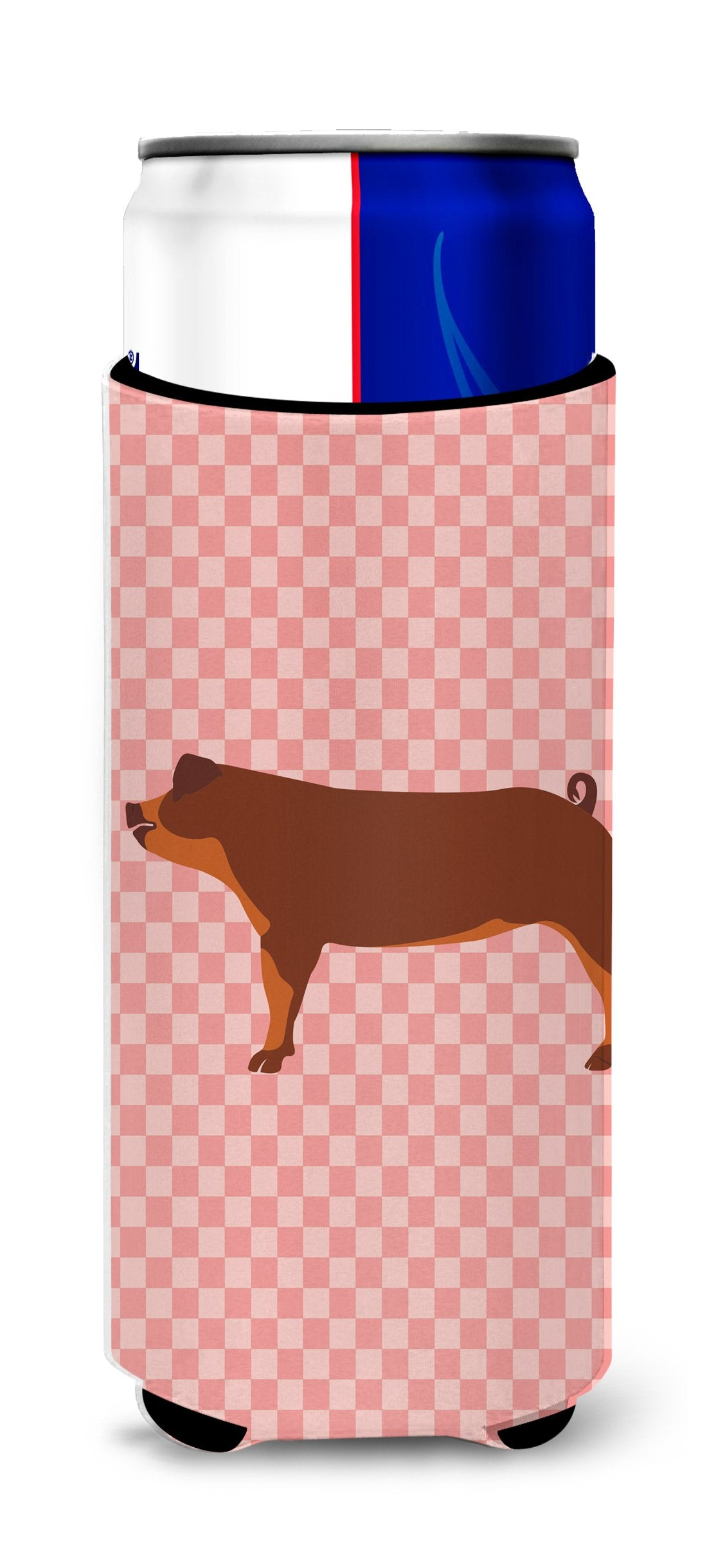 Duroc Pig Pink Check Michelob Ultra Hugger for slim cans by Caroline's Treasures
