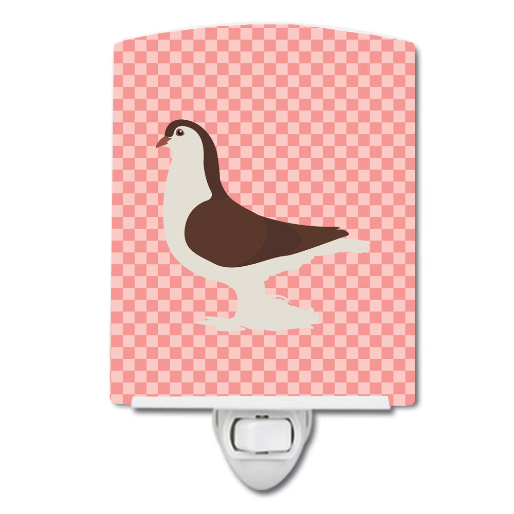 Large Pigeon Pink Check Ceramic Night Light BB7943CNL by Caroline's Treasures