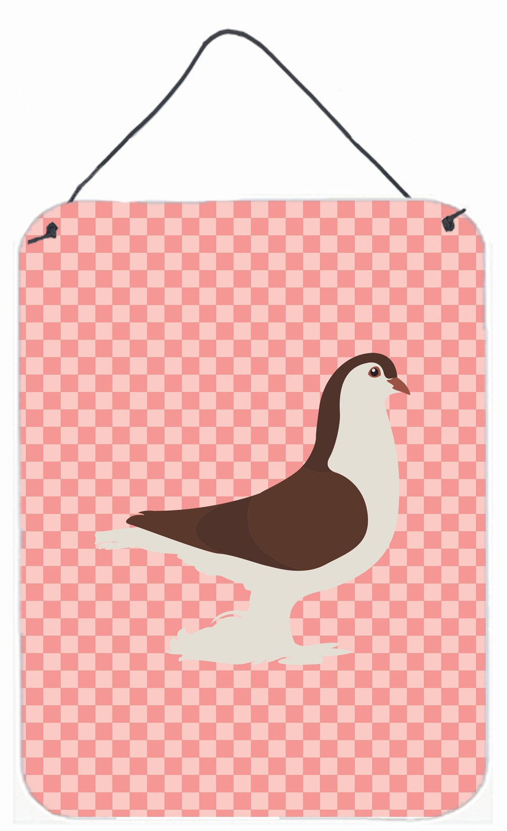 Large Pigeon Pink Check Wall or Door Hanging Prints BB7943DS1216 by Caroline's Treasures