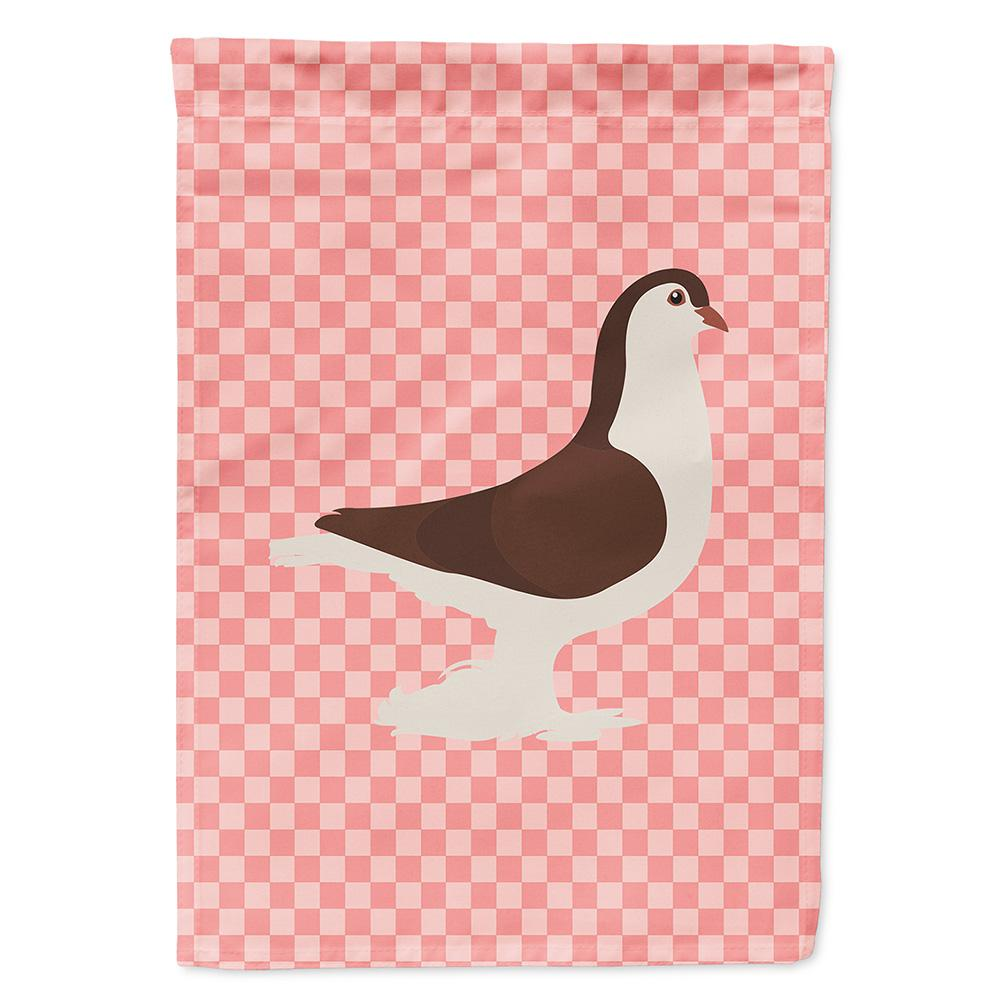 Large Pigeon Pink Check Flag Garden Size by Caroline's Treasures