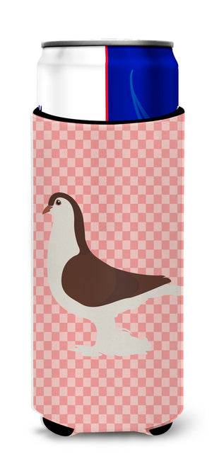 Buy this Large Pigeon Pink Check Michelob Ultra Hugger for slim cans