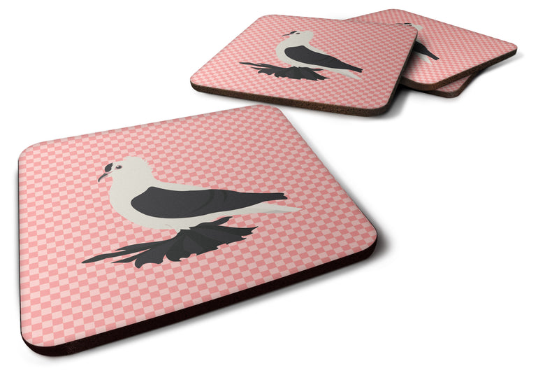 Buy this Saxon Fairy Swallow Pigeon Pink Check Foam Coaster Set of 4 BB7946FC