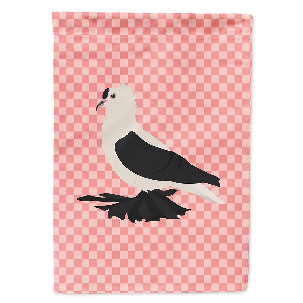 Saxon Fairy Swallow Pigeon Pink Check Flag Garden Size by Caroline's Treasures