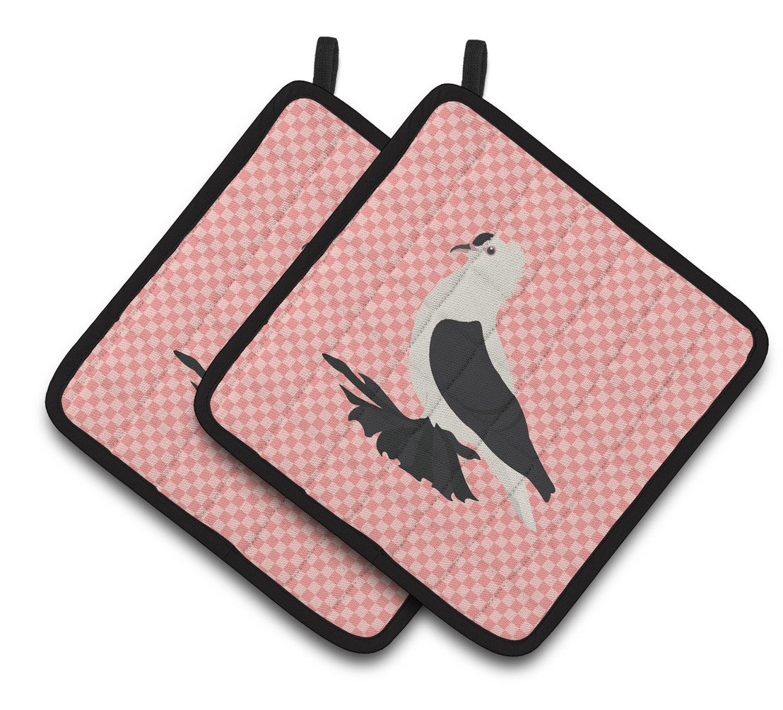 Saxon Fairy Swallow Pigeon Pink Check Pair of Pot Holders BB7946PTHD by Caroline's Treasures
