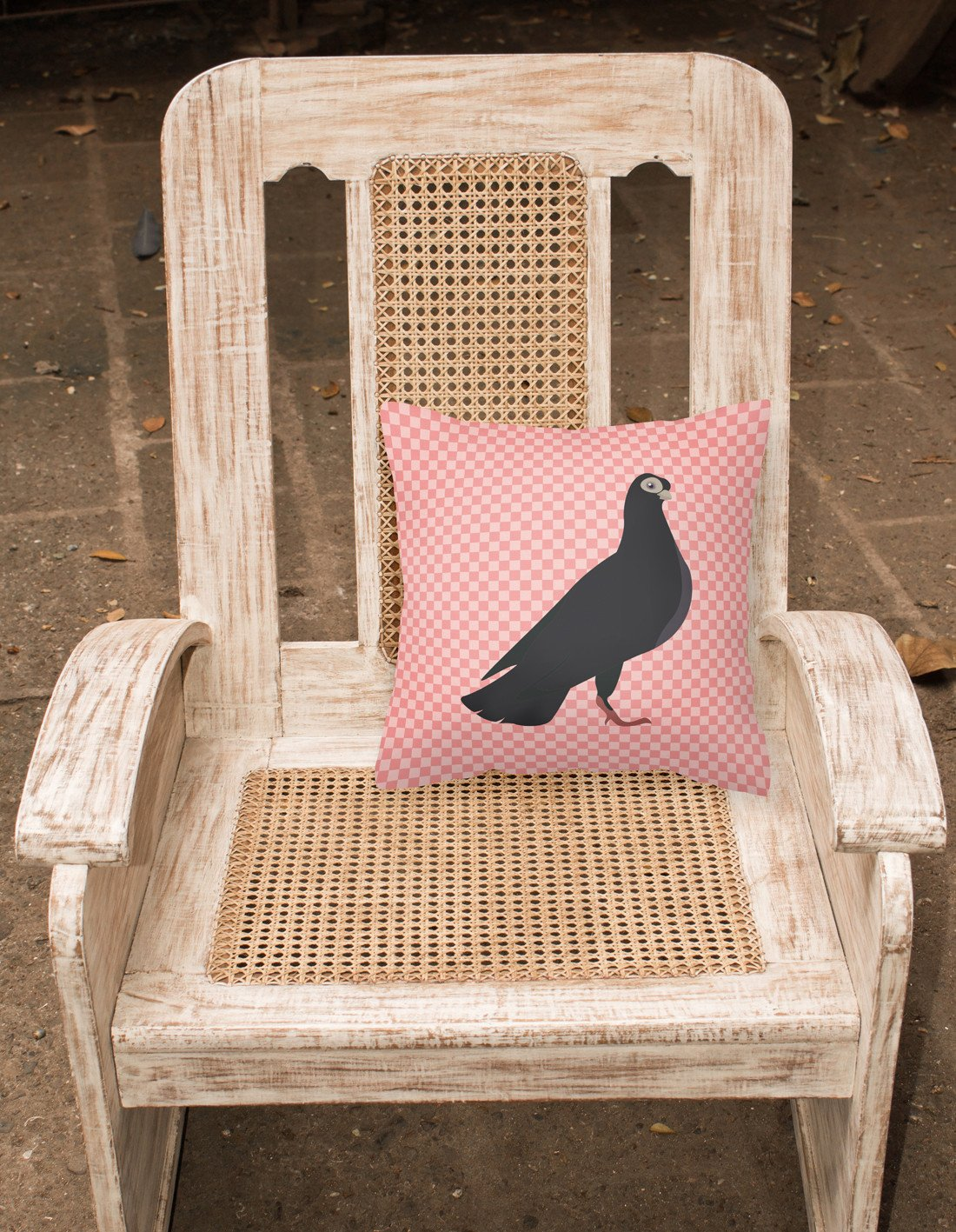 Budapest Highflyer Pigeon Pink Check Fabric Decorative Pillow BB7947PW1818 by Caroline's Treasures