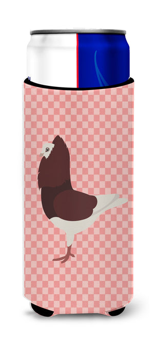 Buy this Capuchin Red Pigeon Pink Check Michelob Ultra Hugger for slim cans