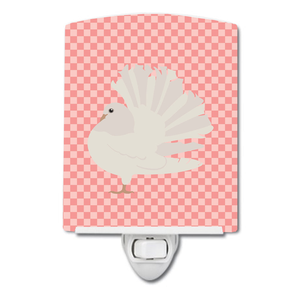 Silver Fantail Pigeon Pink Check Ceramic Night Light BB7950CNL by Caroline's Treasures