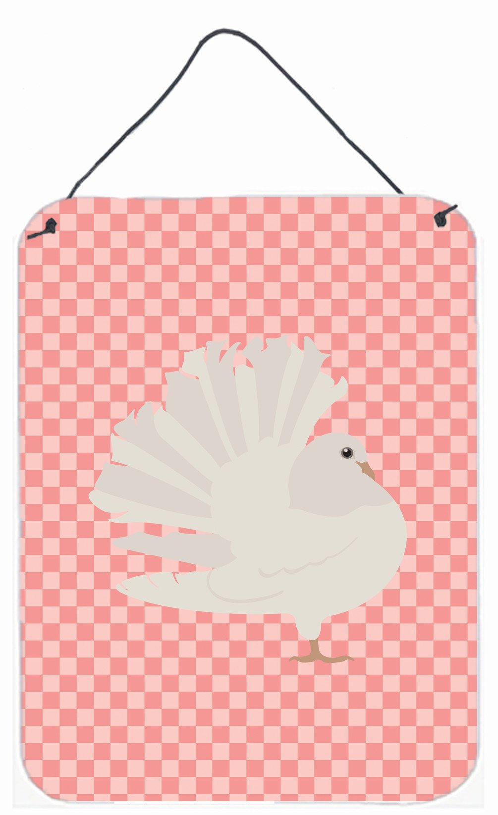 Buy this Silver Fantail Pigeon Pink Check Wall or Door Hanging Prints BB7950DS1216