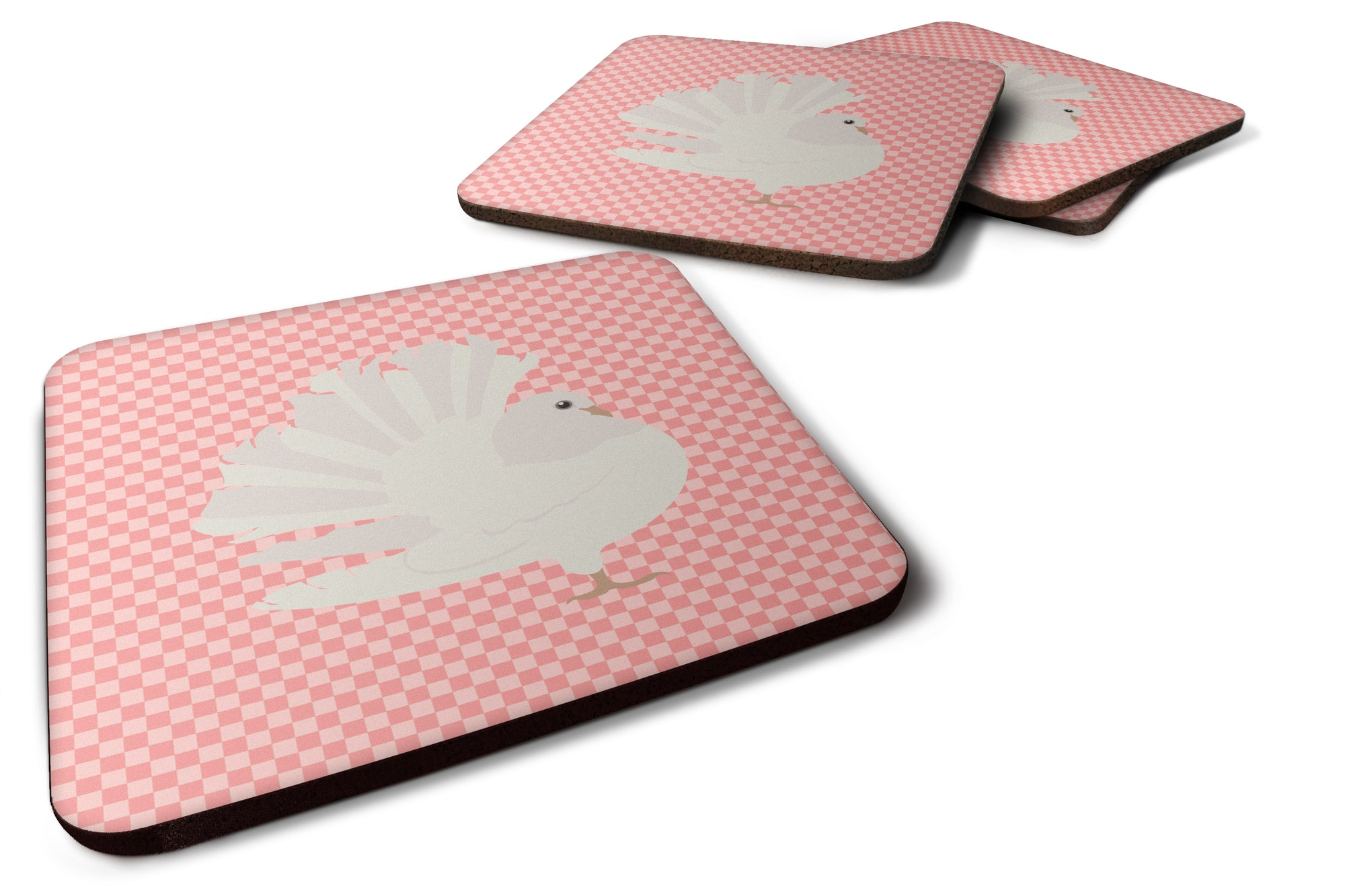 Silver Fantail Pigeon Pink Check Foam Coaster Set of 4 BB7950FC by Caroline's Treasures