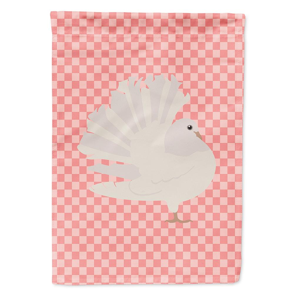 Buy this Silver Fantail Pigeon Pink Check Flag Garden Size