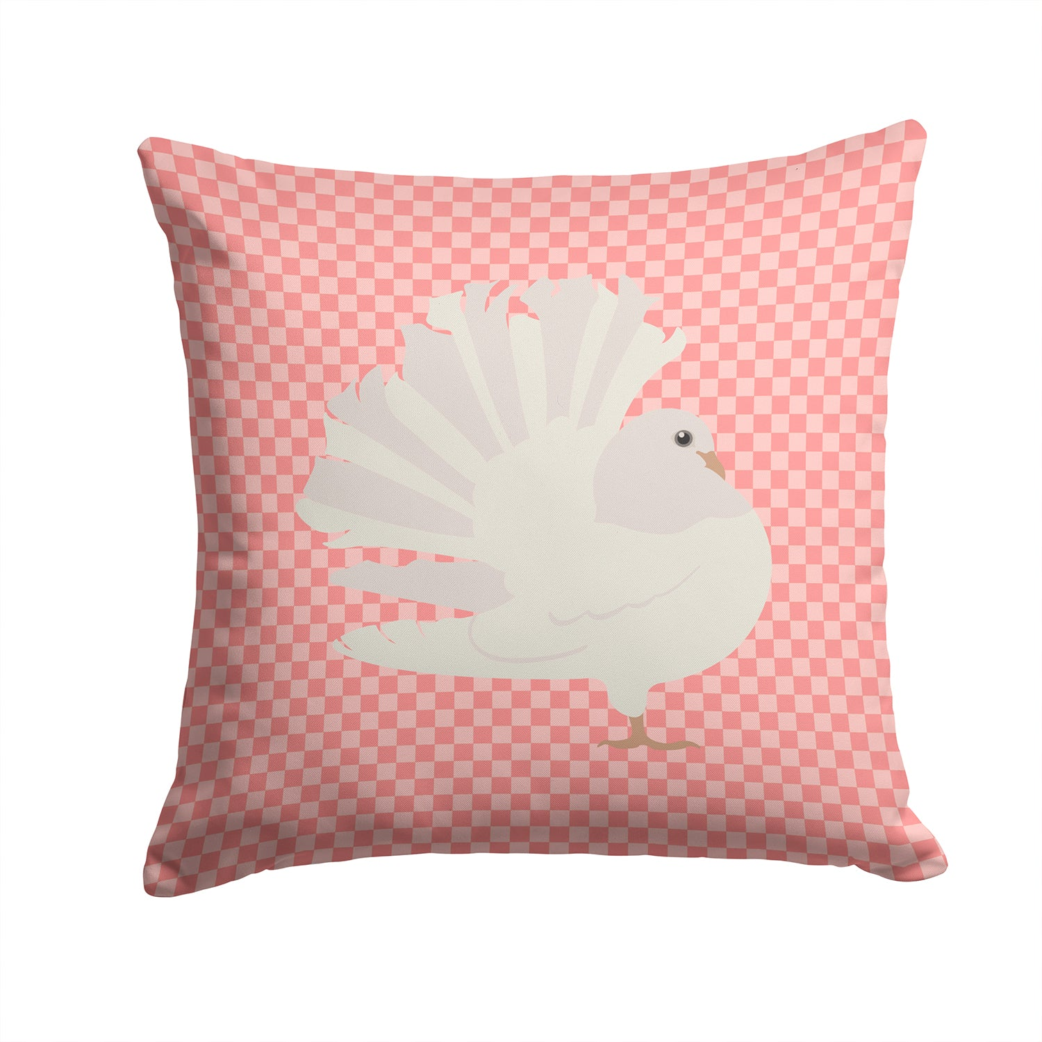Buy this Silver Fantail Pigeon Pink Check Fabric Decorative Pillow BB7950PW1414