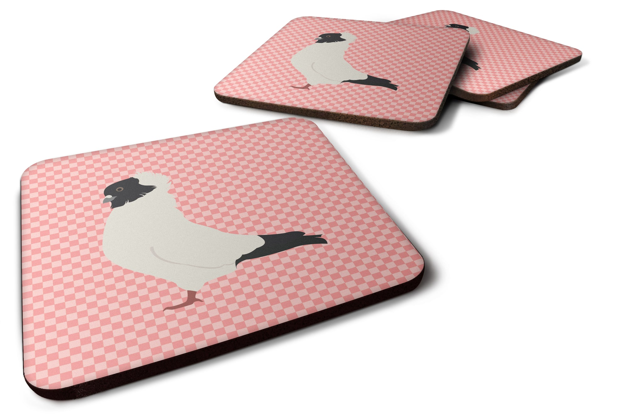 Nun Pigeon Pink Check Foam Coaster Set of 4 BB7952FC by Caroline's Treasures