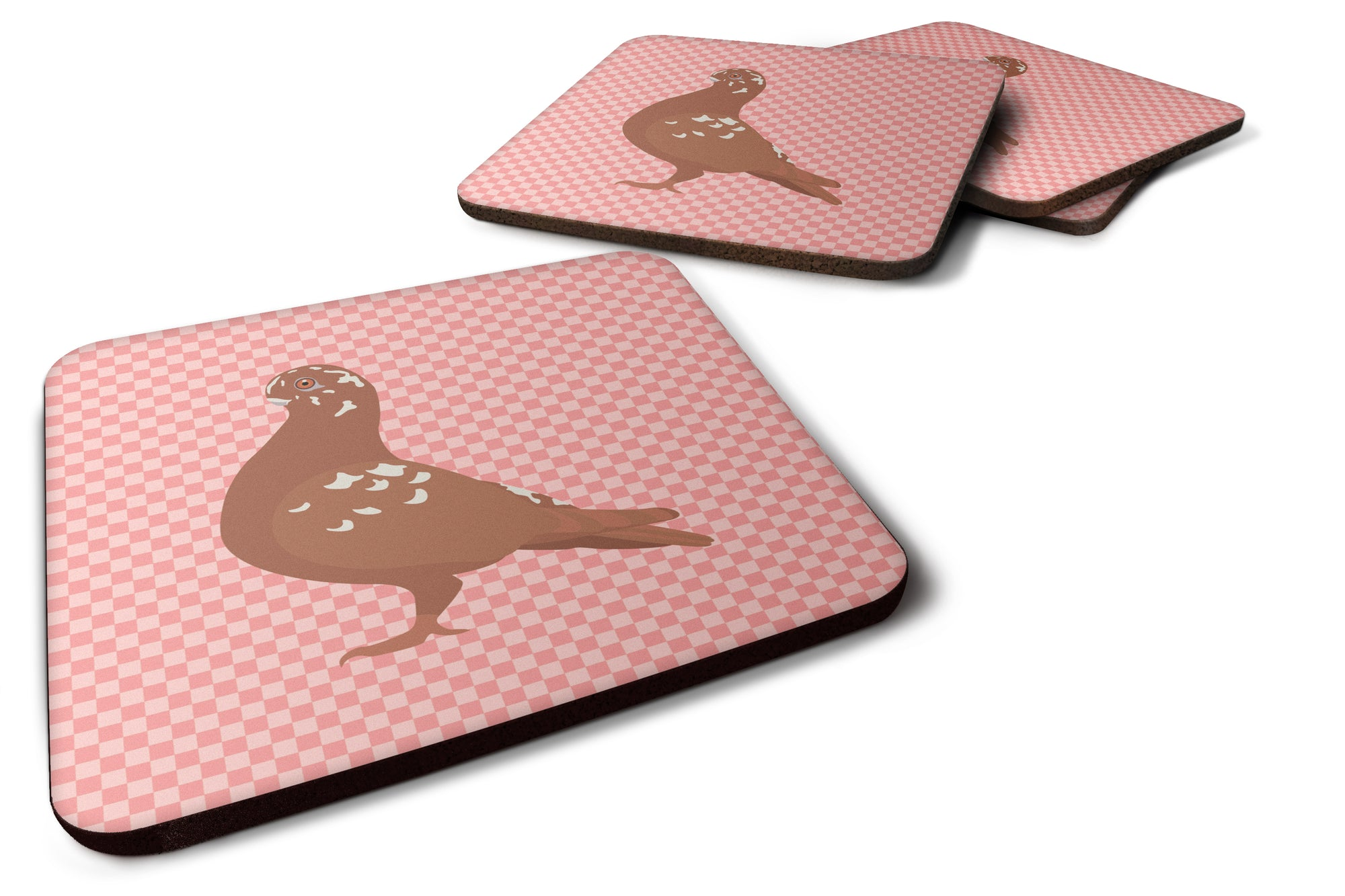 African Owl Pigeon Pink Check Foam Coaster Set of 4 BB7953FC by Caroline's Treasures