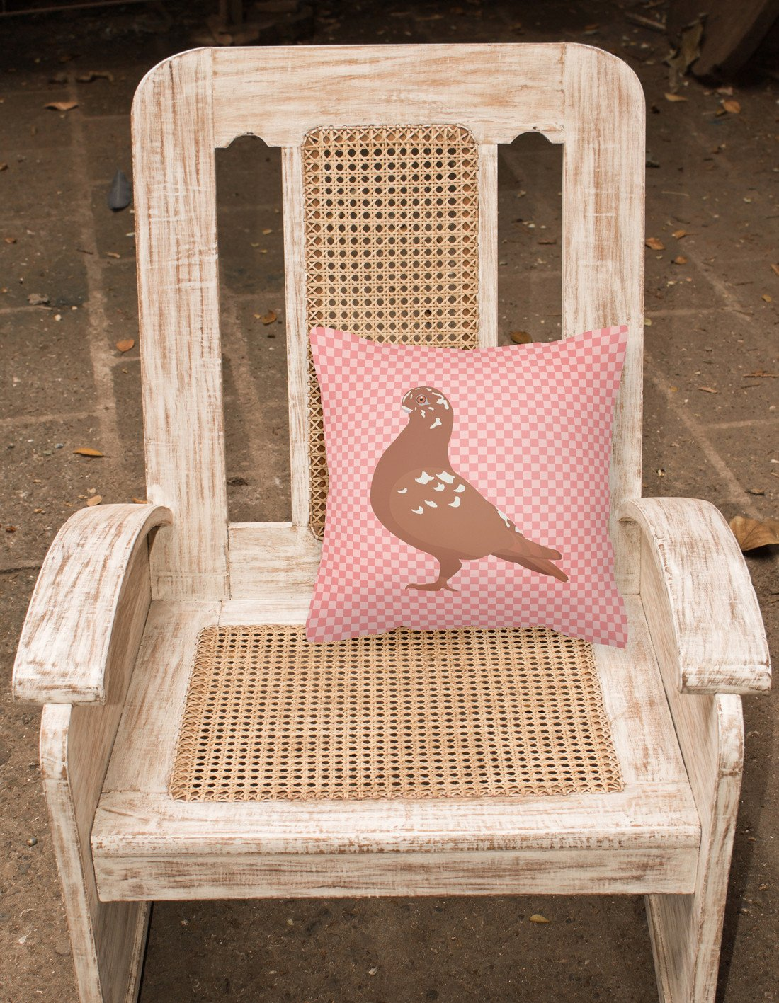 African Owl Pigeon Pink Check Fabric Decorative Pillow BB7953PW1818 by Caroline's Treasures