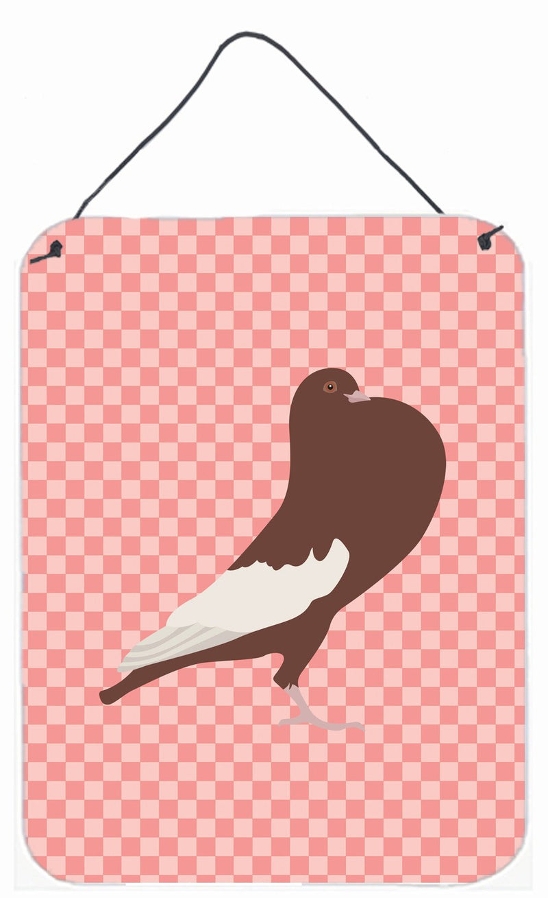 Buy this English Pouter Pigeon Pink Check Wall or Door Hanging Prints BB7954DS1216