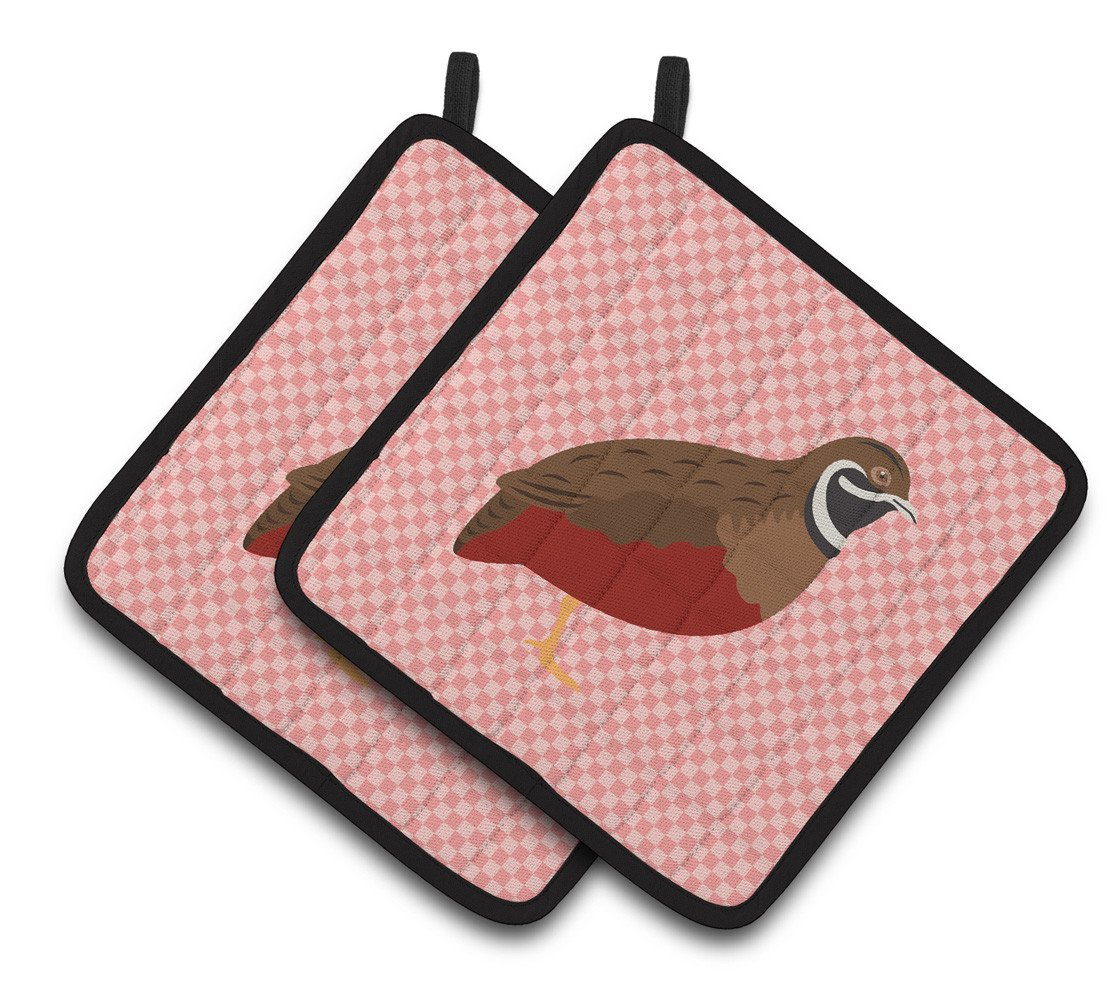 Buy this Chinese Painted or King Quail Pink Check Pair of Pot Holders BB7956PTHD
