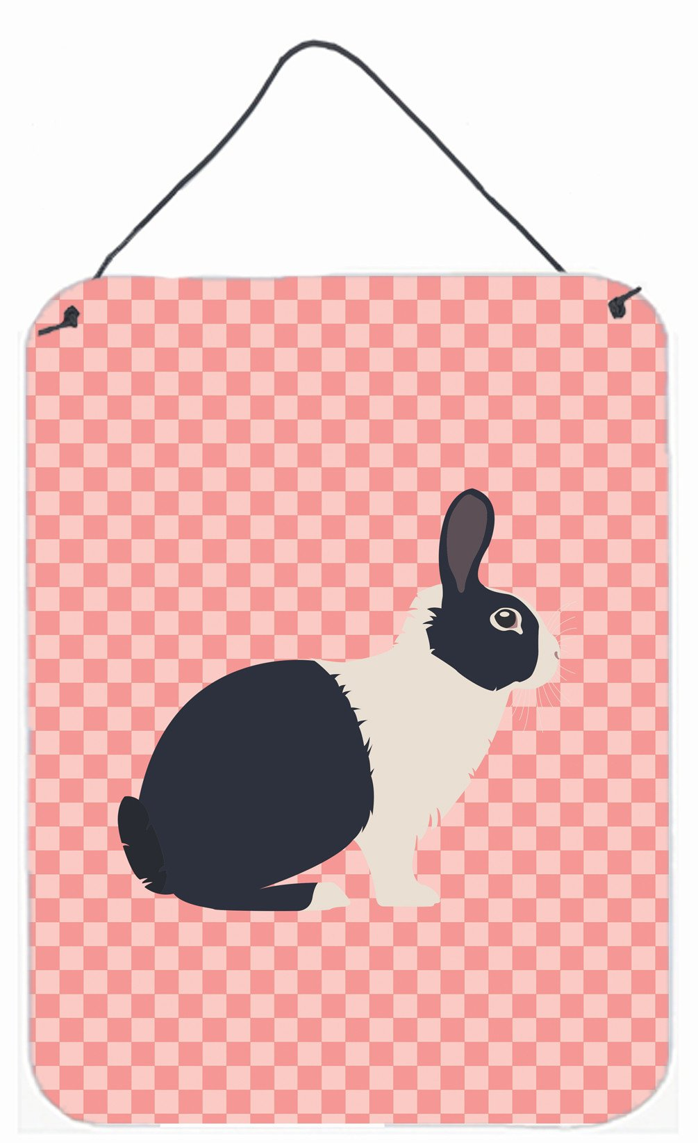 Dutch Rabbit Pink Check Wall or Door Hanging Prints BB7958DS1216 by Caroline's Treasures