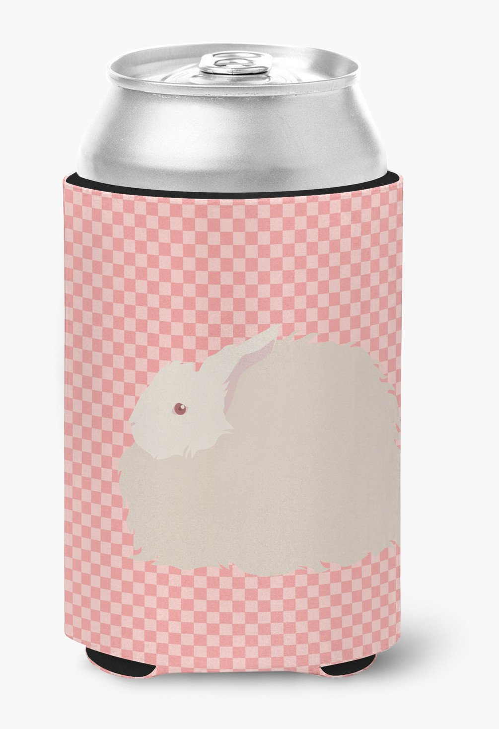 Fluffy Angora Rabbit Pink Check Can or Bottle Hugger BB7959CC by Caroline's Treasures