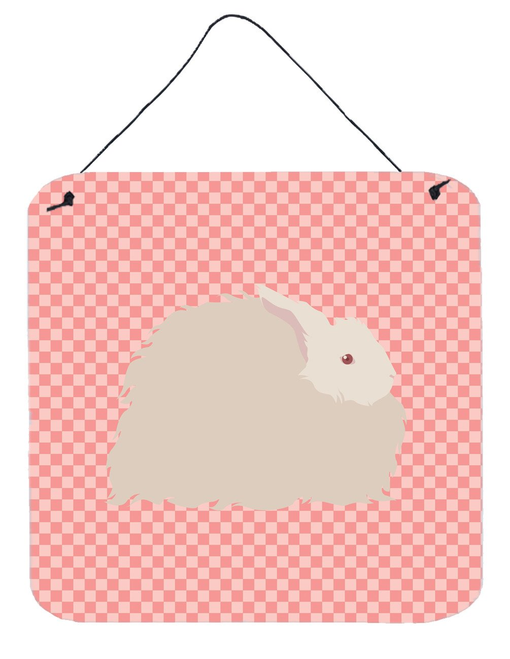 Fluffy Angora Rabbit Pink Check Wall or Door Hanging Prints BB7959DS66 by Caroline's Treasures