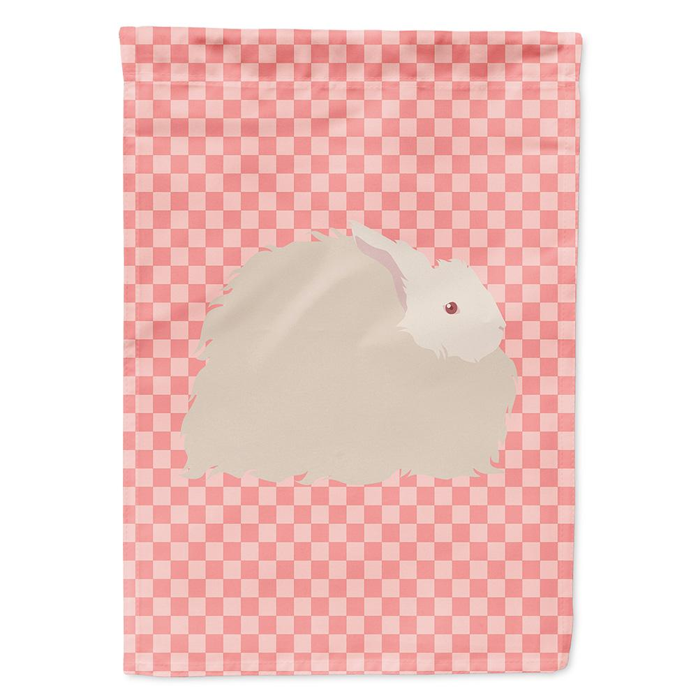 Fluffy Angora Rabbit Pink Check Flag Garden Size by Caroline's Treasures