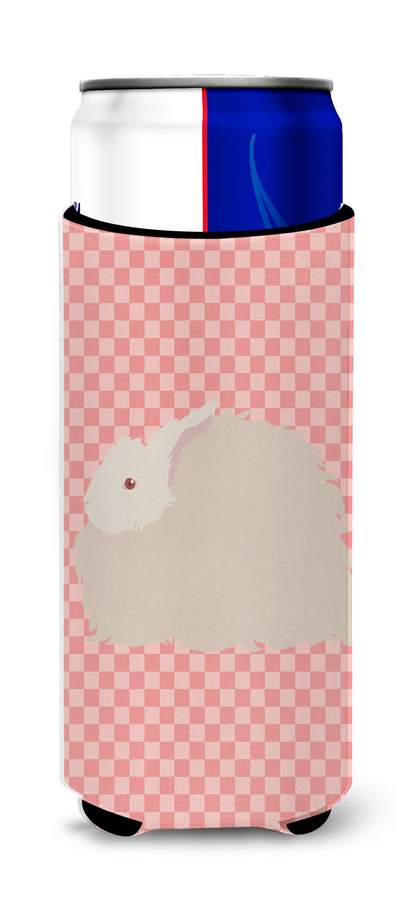 Buy this Fluffy Angora Rabbit Pink Check Michelob Ultra Hugger for slim cans