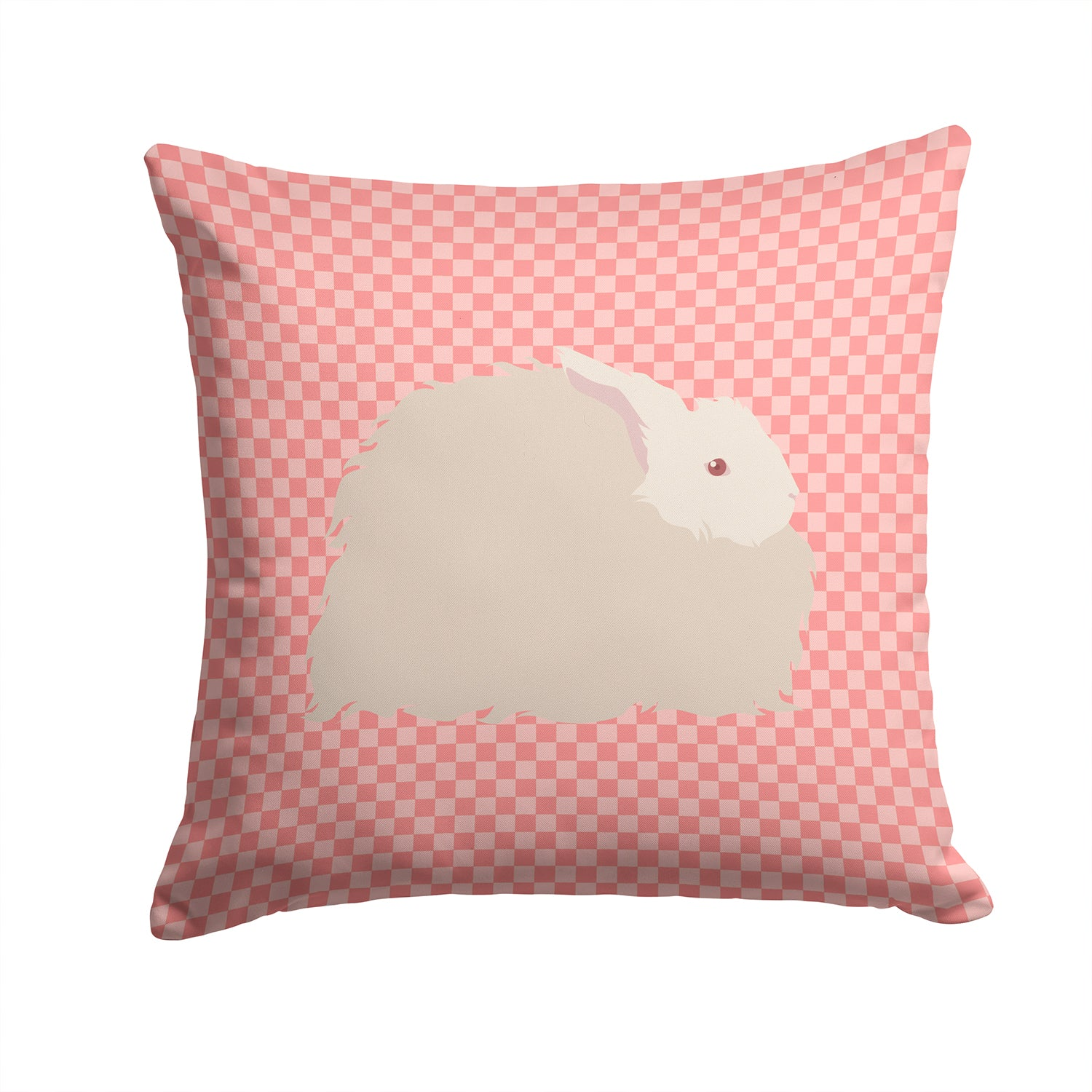 Fluffy Angora Rabbit Pink Check Fabric Decorative Pillow BB7959PW1414 by Caroline's Treasures