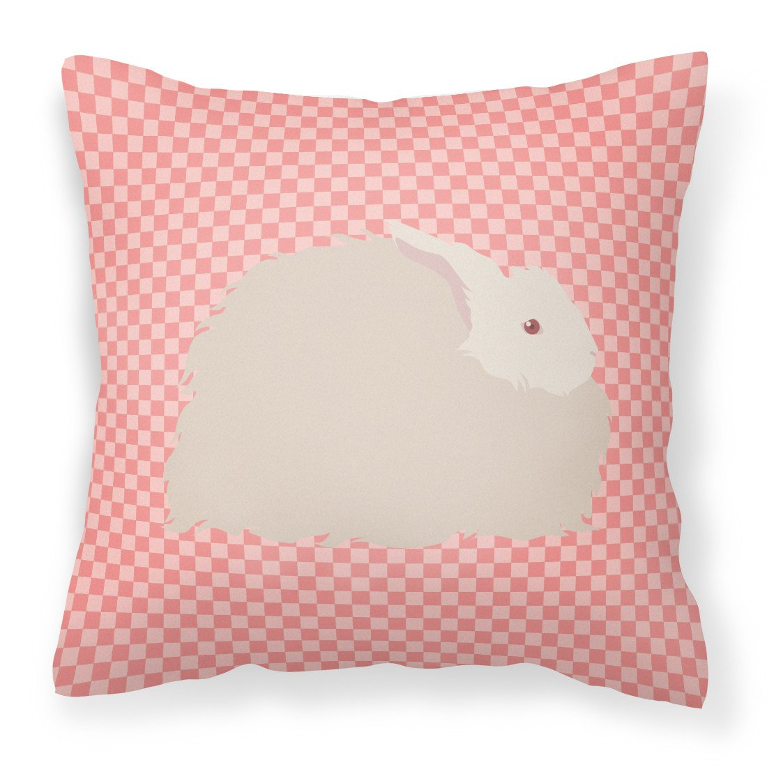 Fluffy Angora Rabbit Pink Check Fabric Decorative Pillow BB7959PW1818 by Caroline's Treasures