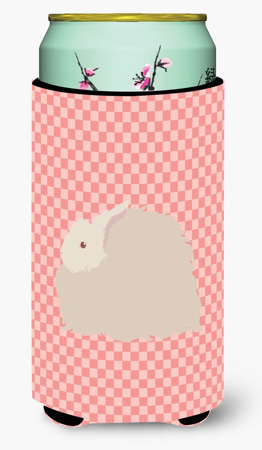 Fluffy Angora Rabbit Pink Check Tall Boy Beverage Insulator Hugger BB7959TBC by Caroline's Treasures